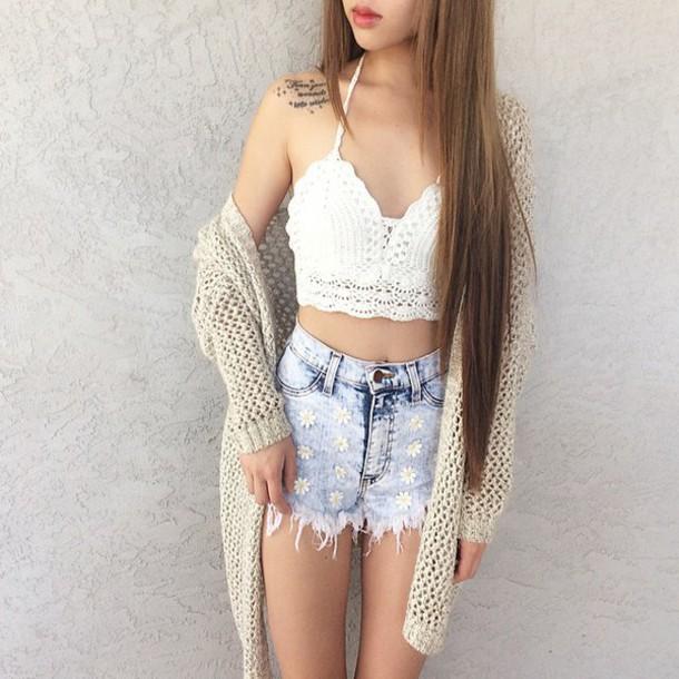 tank top cardigan crop tops crochet crop top crochet top white crop tops High waisted shorts shirt