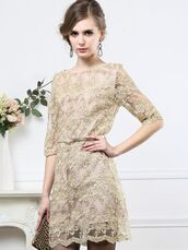 lace dress,beige,mini dress,grace,beige shoes
