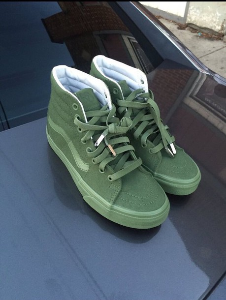 3bb98ee88a shoes vans high top sneakers olive green