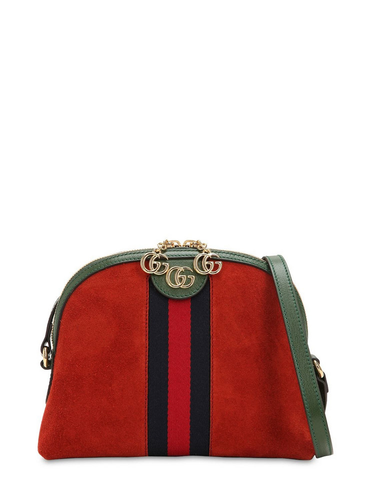 GUCCI Ophidia Suede Shoulder Bag in red