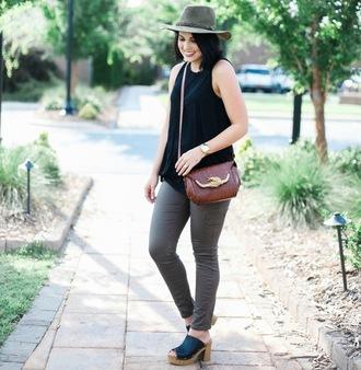 life & messy hair blogger pants hat shoes bag tank top black tank top grey pants brown bag shoulder bag stacked wood heels