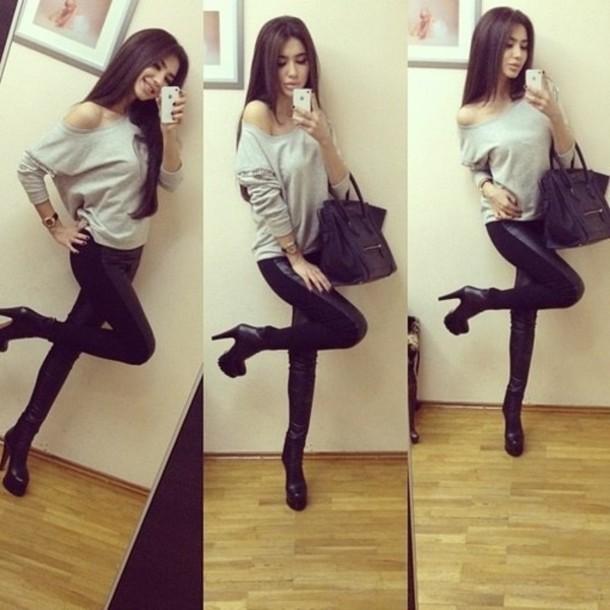Pants t-shirt leggings hair high heels shoes bag iphone sweater leggings blouse black ...