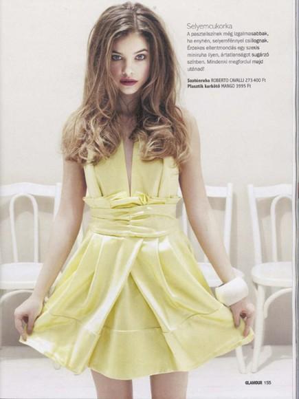 barbara palvin model yellow yellow dress roberto cavalli