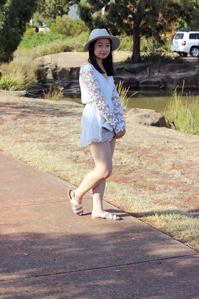 an odd girl blogger romper hat lace bag jewels shoes