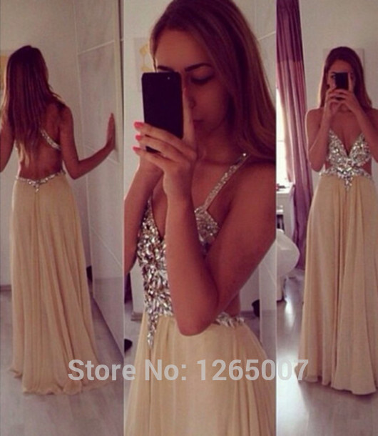 Aliexpress.com : Buy 2014 New Arrival Spaghetti Traps Sweetheart Silver Sequins Beaded Open Back Nude Chiffon Prom Dress Fashion Gowns Glitter from Reliable fashionable dress suppliers on SFBridal