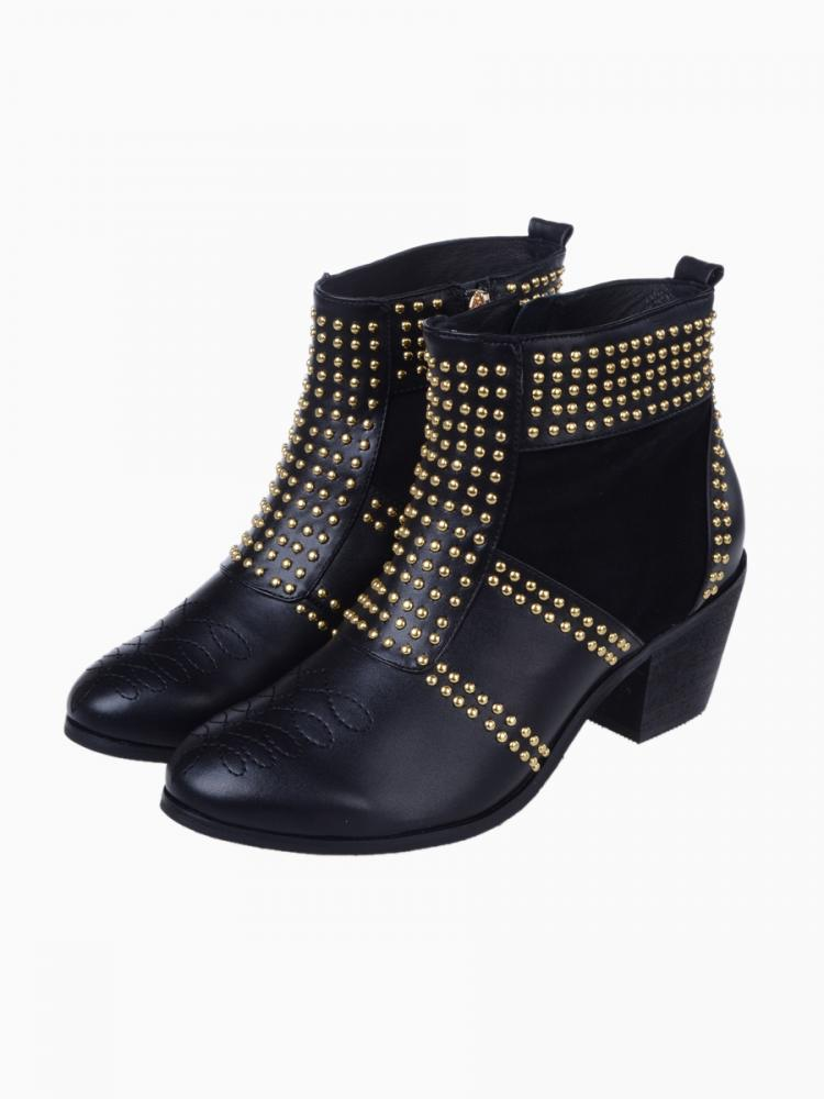 Stud Punk Boots Contrast Suede Panel | Choies