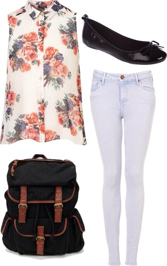 blouse floral top cute top cute outfits tank top fashion clothes girly outfits tumblr jeans