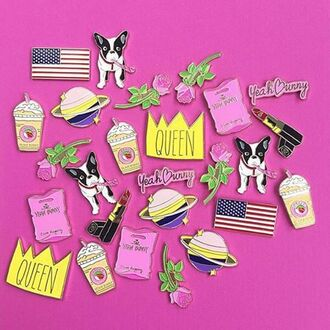 home accessory yeah bunny pins pin pastel queen crown dog science rose coffee american flag
