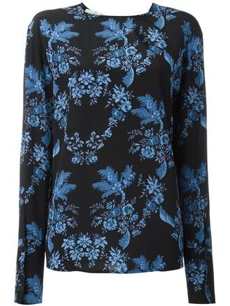 t-shirt shirt floral print black top