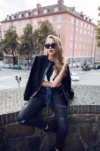 kenza blogger jacket pants sunglasses shoes bag