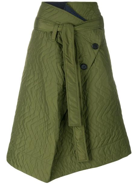 MARNI skirt wrap skirt women quilted green chevron