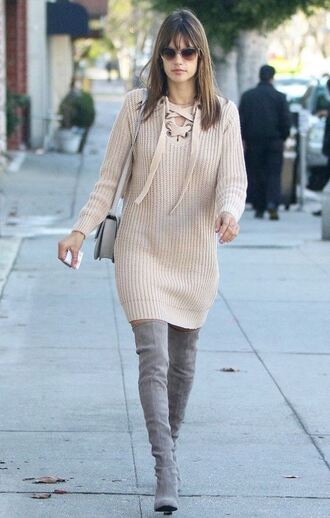 sweater sweater dress boots dress alessandra ambrosio model off-duty streetstyle