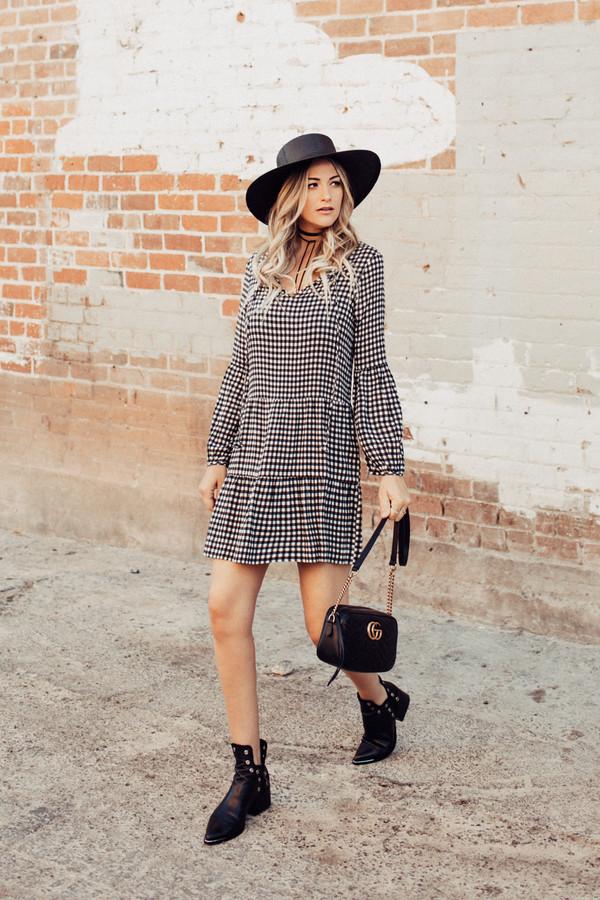 b74348df0f5 dress hat tumblr mini dress gingham long sleeves long sleeve dress boots  black boots ankle boots.