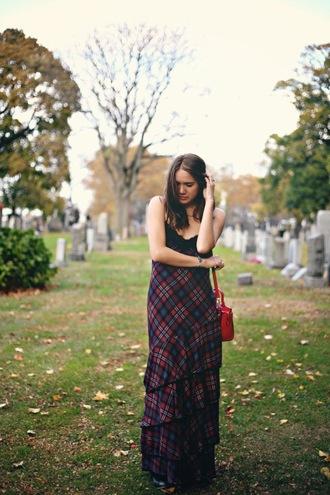 color me nana blogger tartan long dress ruffle red bag