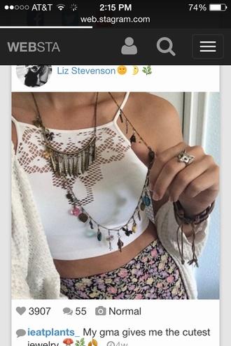 blouse spring fashions liz stevenson ieatplants_ flower print skater skirt cut-out white shirt knitted sweater necklace ring bracelets