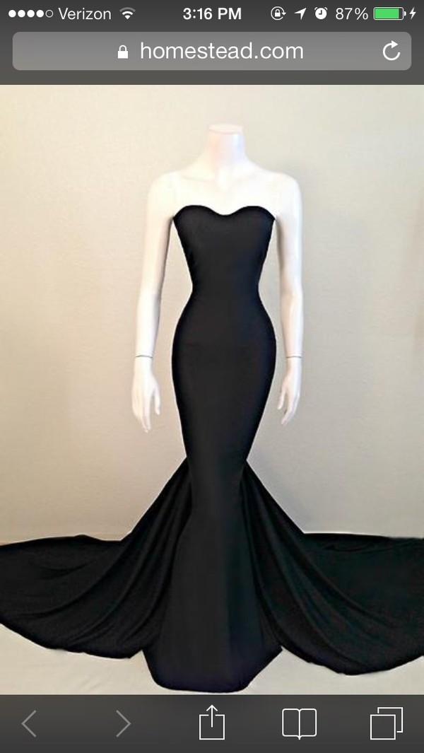 dress black mermaid prom dress