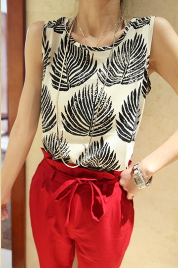 Black Leaves Summer Vest [FCBI00265]- US$11.99 - PersunMall.com