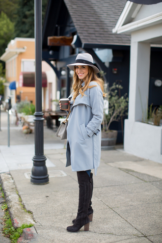 hat blogger bag knee high boots jeans gal meets glam grey coat
