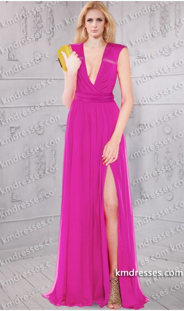 Sheer Panel Ruched side split semi-silk chiffon gown Inspired by Adriana lima