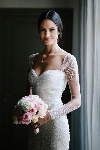 dress beaded lace embellished lace wedding dress