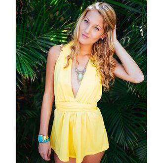 romper yellow yellow romper yellow playsuit sexy sexy romper sexy playsuit deep v plunge v neck plunge neckline plunging escloset