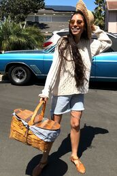 sweater,white sweater,shorts,denim,basket,shoes,flats,sandals,sunglasses