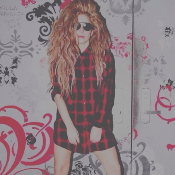lady gaga red hair flannel shirt blouse