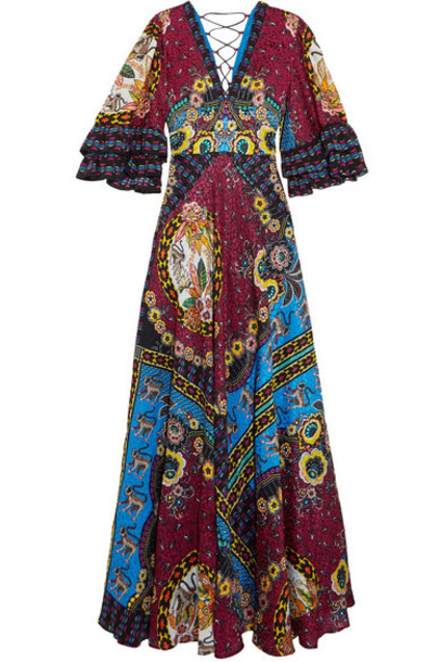 ETRO dress maxi dress maxi jacquard silk red