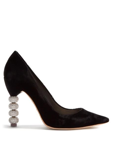 Sophia Webster heel embellished pumps velvet black shoes