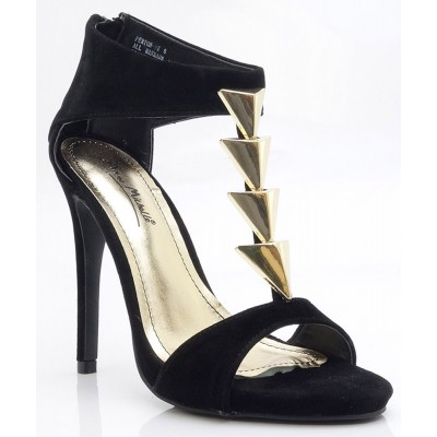 Anne Michelle Open Toe Gold Triangle T-Strap Stiletto Heel Sandal BLACK