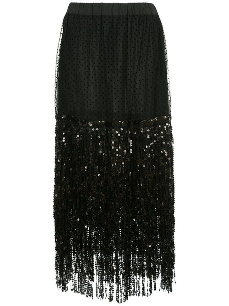 Romance Was Born skirt fringe skirt women black silk