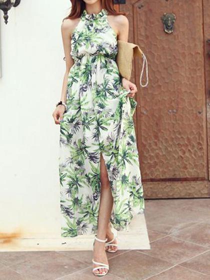 Halter Coconut Tree Print Maxi Dress with Split - Choies.com