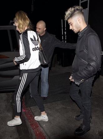 jacket white black adidas gigi hadid zayn malik model pants