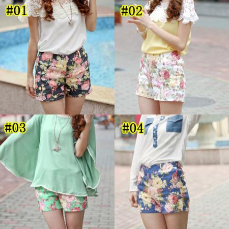 Women's Flowers Floral Print Shorts High Waist Mini Short Pants Hot Pants Belt | eBay
