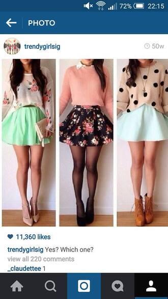 skirt all 3 skirts triable cute shirt mint skirt white and black skirt