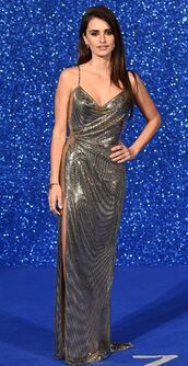 dress,metallic,metallic dress,gown,prom dress,slit dress,penelope cruz