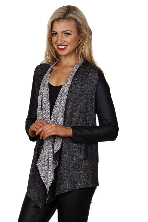 Gray Two Toned and Pleather Asymmetrical Sweater Jacket