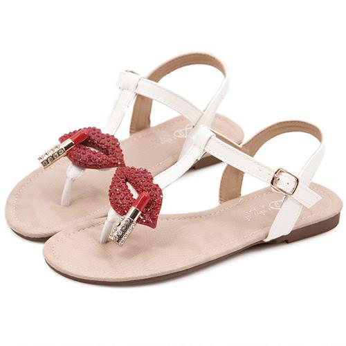 Casual Flat Low Heel Clip White PU Sandals_Sandals_Womens Shoes_Cheap Clothes,Cheap Shoes Online,Wholesale Shoes,Clothing On lovelywholesale.com - LovelyWholesale.com