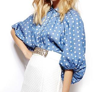 blouse denim polka dots