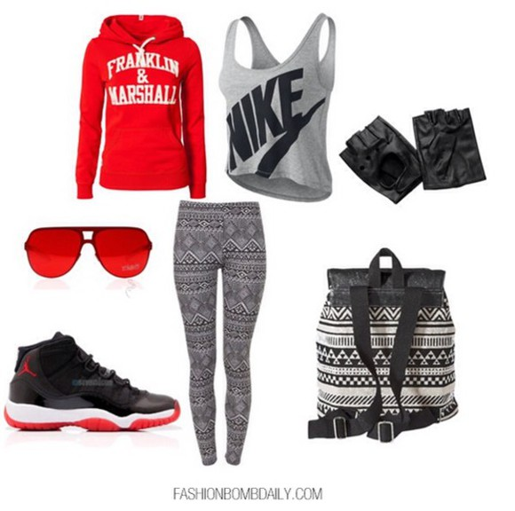 hoodie black grey leggings red nike franklin marshall jordans