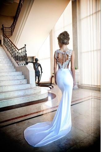 dress backless lace dress wedding dress long cheap chanel cream prom dress
