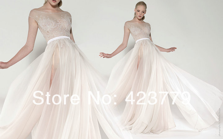 Novel Style A Line Nude Off The Shoulder Lace Bridal Wedding Dress Chic Ivory Chiffon Destination
