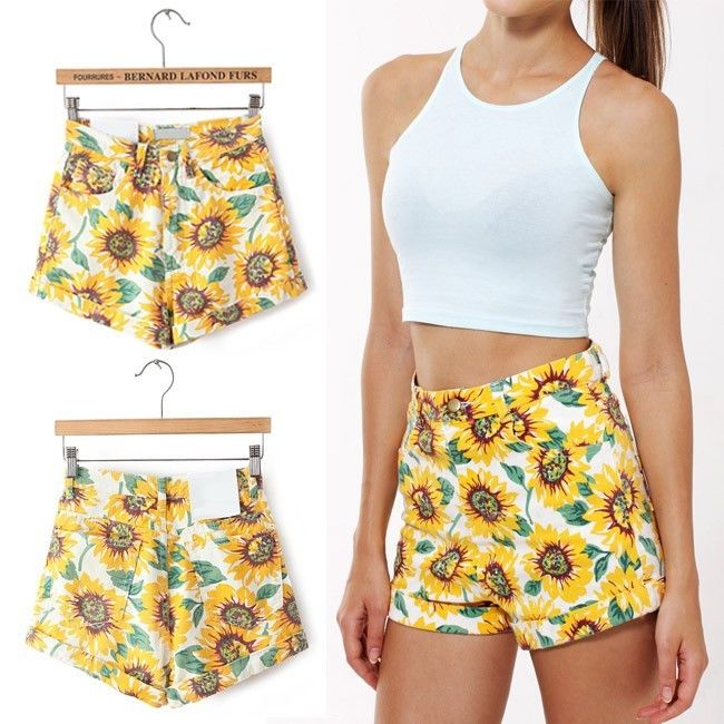 Summer Celebrity Sunflower High Waist Rollup Hem Classic Denim Jeans Hot Shorts