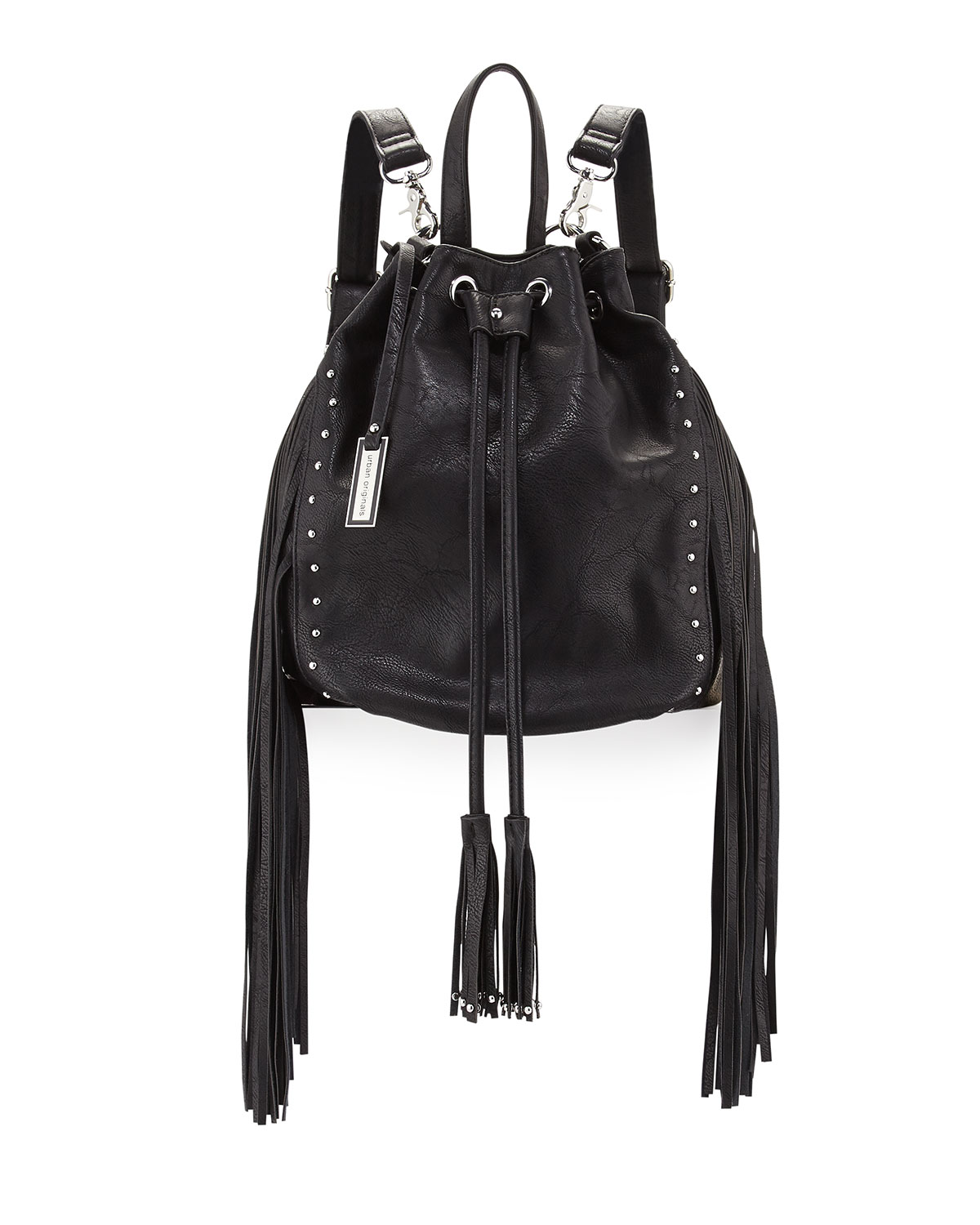 Urban Originals Forbidden Fringe Bucket Backpack, Black
