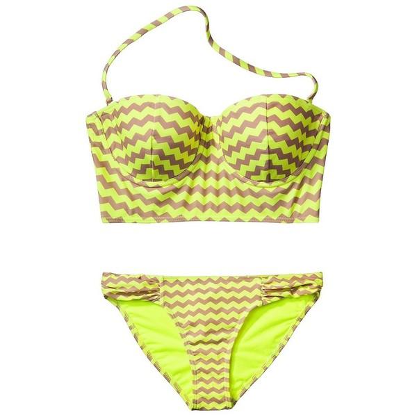 Xhilaration Junior's Chevron Midkini 2-Piece Swimsuit -Yellow - Polyvore