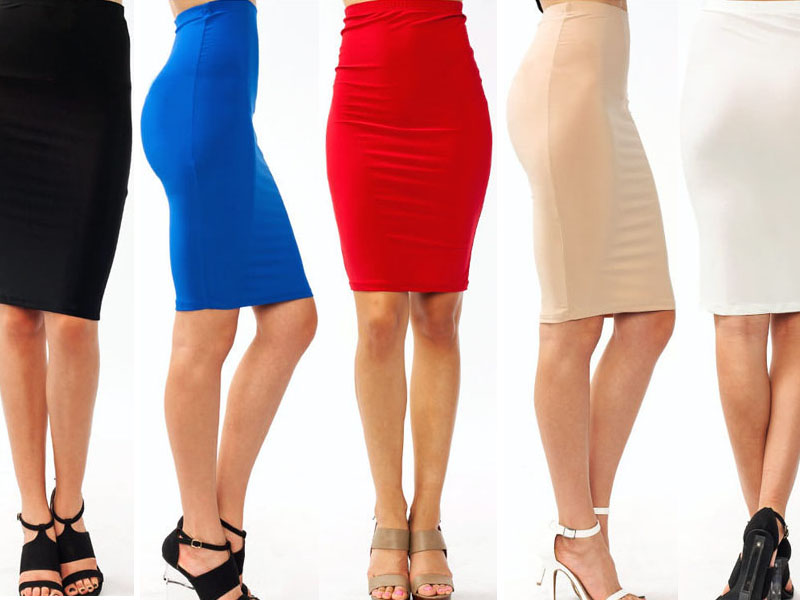 Fashion Trends Candy Color Pencil Tight Skirt Black Blue Beige ...