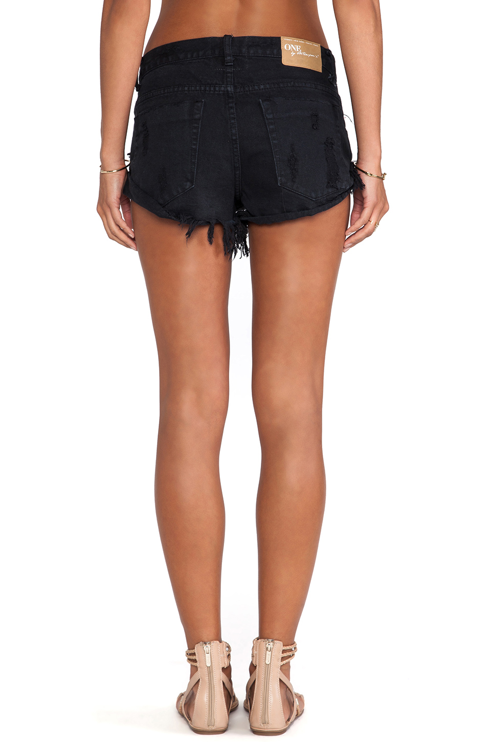 one teaspoon bandits jean shorts in fox black from. Black Bedroom Furniture Sets. Home Design Ideas