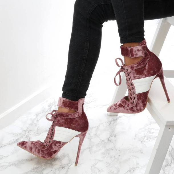 shoes tumblr boots ankle boots pink boots lace up boots high heels boots pointed boots velvet shoes velvet boots velvet ankle boots