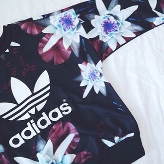 sweater adidas black flowers adidas sweater