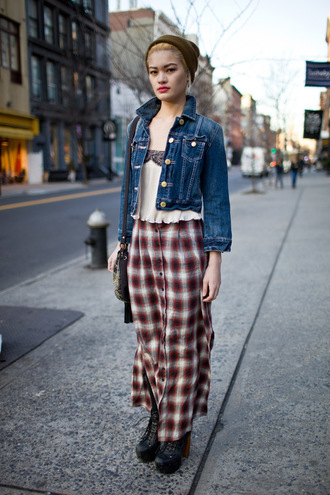grunge soft grunge red 90s style skirt flannel plaid skirt red plaid